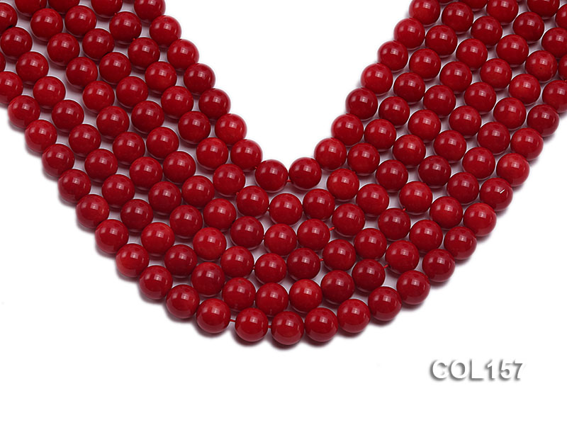 Wholesale 8-8.5mm Round Red Coral Beads Loose String big Image 1