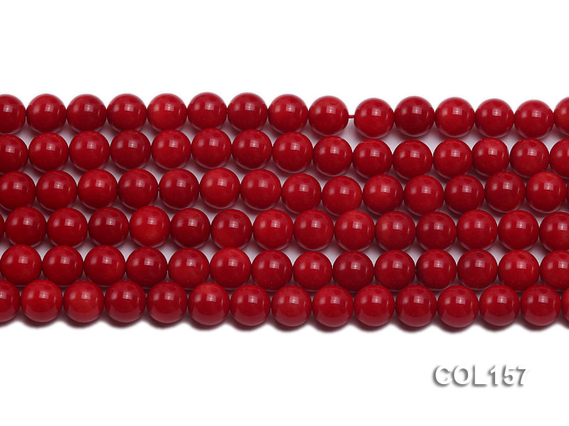 Wholesale 8-8.5mm Round Red Coral Beads Loose String big Image 2