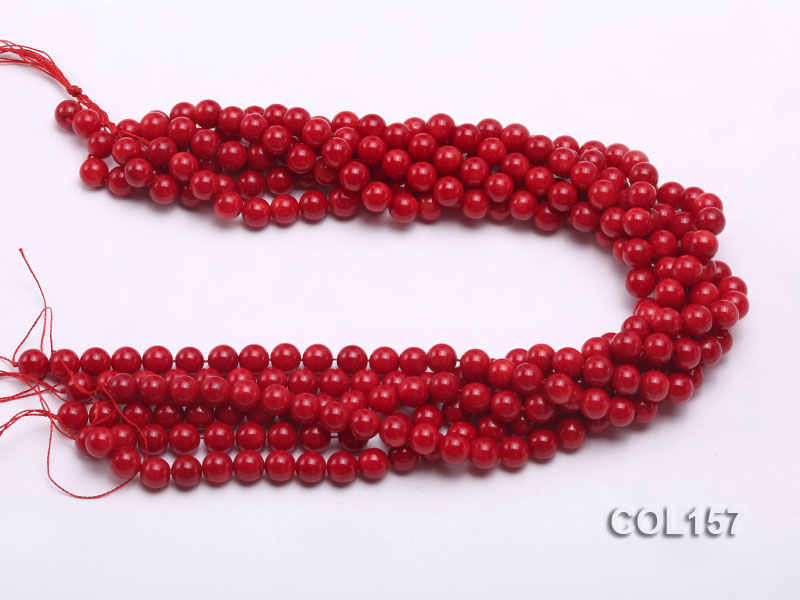 Wholesale 8-8.5mm Round Red Coral Beads Loose String big Image 3