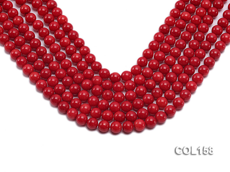 Wholesale 8.5-9mm Round Red Coral Beads Loose String big Image 1