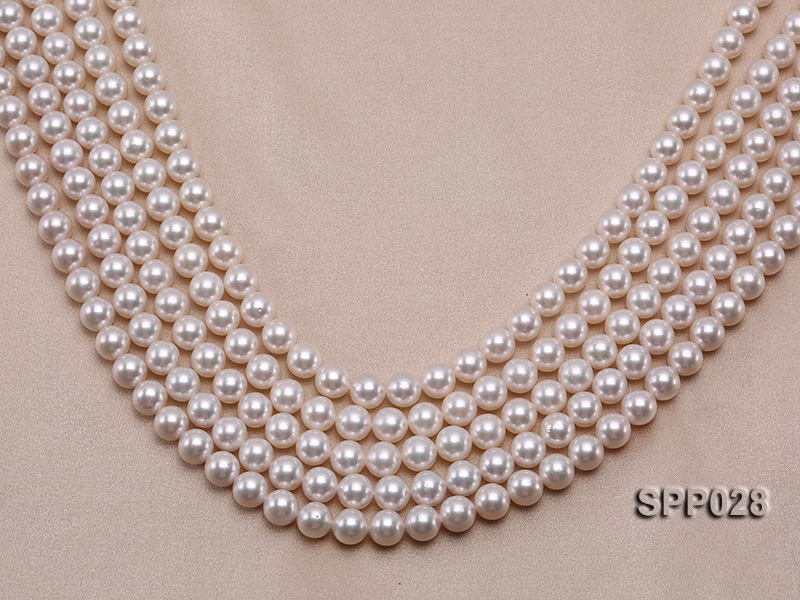 8-8.5mm Gorgeous Round Pink Seawater Pearl String big Image 1