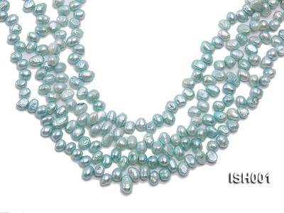 Wholesale 6X8.5mm Peacock Blue Side-drilled Cultured Freshwater Pearl String ISH001 Image 1