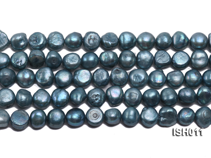 Wholesale 7X9mm Grey Blue Flat  Freshwater Pearl String big Image 2
