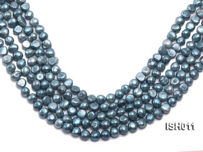 Wholesale 7X9mm Grey Blue Flat  Freshwater Pearl String ISH011 Image 1