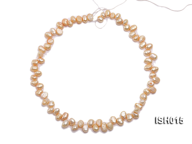 Wholesale 6x8mm Orange Pink Side-drilled Cultured Freshwater Pearl String big Image 3