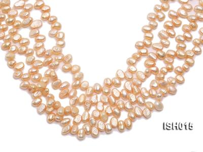 Wholesale 6x8mm Orange Pink Side-drilled Cultured Freshwater Pearl String ISH015 Image 1