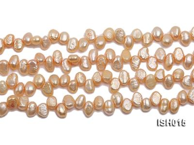 Wholesale 6x8mm Orange Pink Side-drilled Cultured Freshwater Pearl String ISH015 Image 2