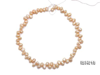 Wholesale 6x8mm Orange Pink Side-drilled Cultured Freshwater Pearl String ISH015 Image 3