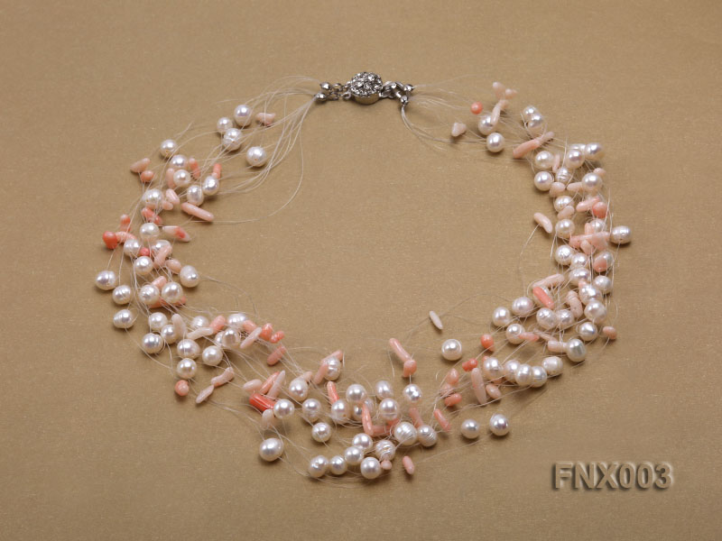20-strand 5mm White Cultured Freshwater Pearl & Pink Coral Sticks Galaxy Necklace big Image 1
