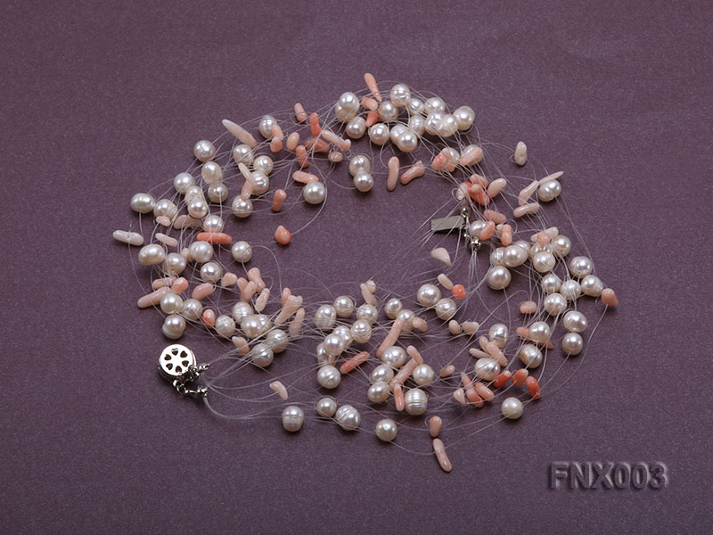 20-strand 5mm White Cultured Freshwater Pearl & Pink Coral Sticks Galaxy Necklace big Image 2