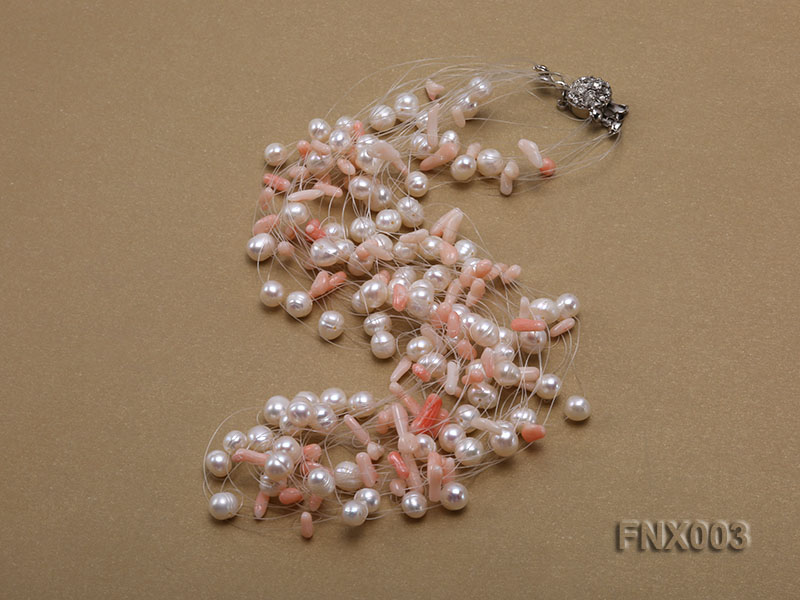 20-strand 5mm White Cultured Freshwater Pearl & Pink Coral Sticks Galaxy Necklace big Image 4