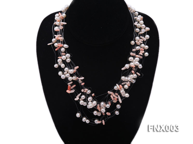 20-strand 5mm White Cultured Freshwater Pearl & Pink Coral Sticks Galaxy Necklace big Image 5
