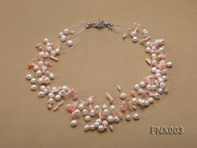 20-strand 5mm White Cultured Freshwater Pearl & Pink Coral Sticks Galaxy Necklace FNX003 Image 1