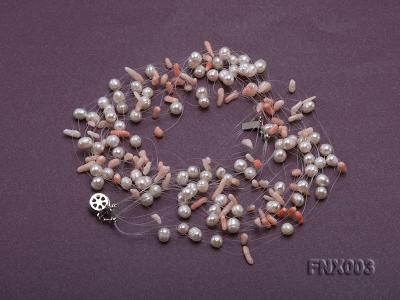 20-strand 5mm White Cultured Freshwater Pearl & Pink Coral Sticks Galaxy Necklace FNX003 Image 2