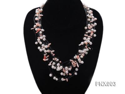 20-strand 5mm White Cultured Freshwater Pearl & Pink Coral Sticks Galaxy Necklace FNX003 Image 5