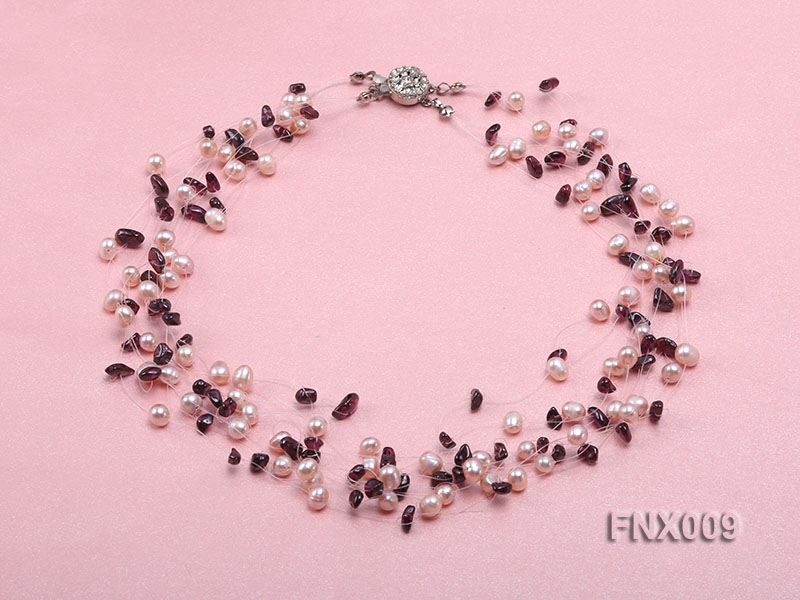 20-strand Lavender Cultured Freshwater Pearl & Garnet Chips Galaxy Necklace big Image 1