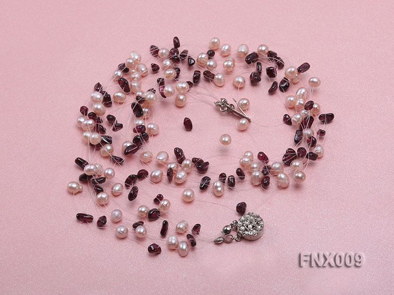 20-strand Lavender Cultured Freshwater Pearl & Garnet Chips Galaxy Necklace big Image 2