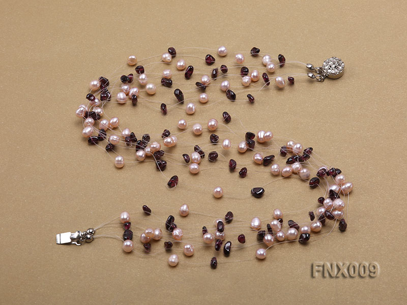 20-strand Lavender Cultured Freshwater Pearl & Garnet Chips Galaxy Necklace big Image 3