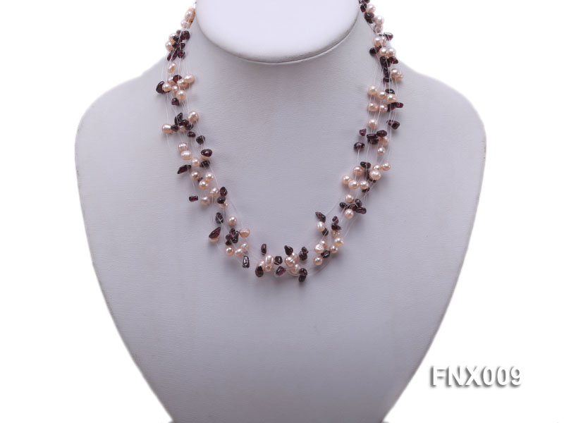 20-strand Lavender Cultured Freshwater Pearl & Garnet Chips Galaxy Necklace big Image 5