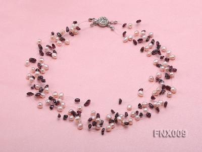 20-strand Lavender Cultured Freshwater Pearl & Garnet Chips Galaxy Necklace FNX009 Image 1