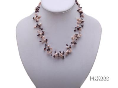 20-strand Lavender Cultured Freshwater Pearl & Garnet Chips Galaxy Necklace FNX009 Image 5