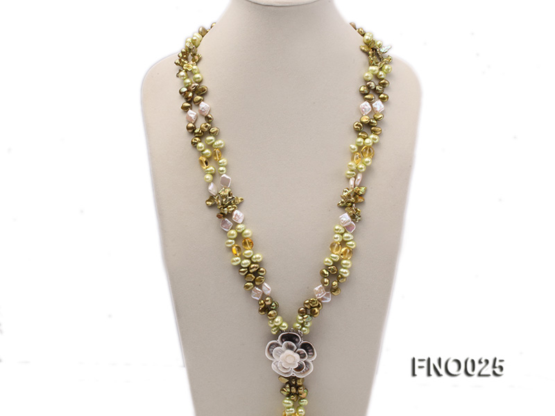 8-9mm green regenerated freshwater pearl necklace big Image 2