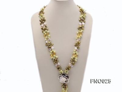 8-9mm green regenerated freshwater pearl necklace FNO025 Image 2