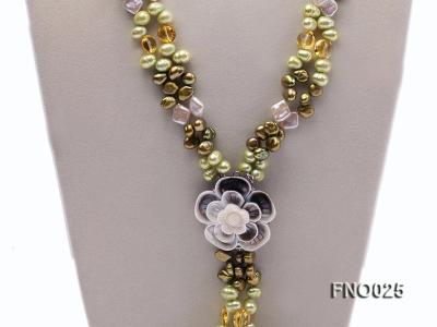 8-9mm green regenerated freshwater pearl necklace FNO025 Image 3