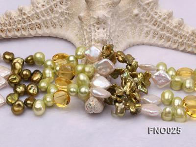 8-9mm green regenerated freshwater pearl necklace FNO025 Image 5