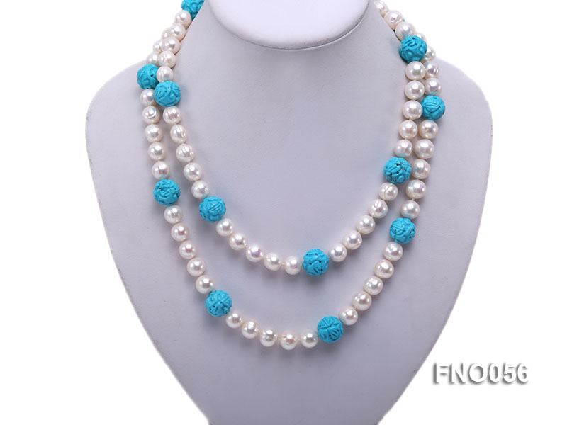 9-10mm natural white round freshwater pearl with carved blue turquoise necklace big Image 1