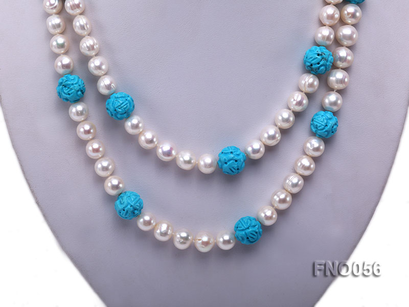 9-10mm natural white round freshwater pearl with carved blue turquoise necklace big Image 2