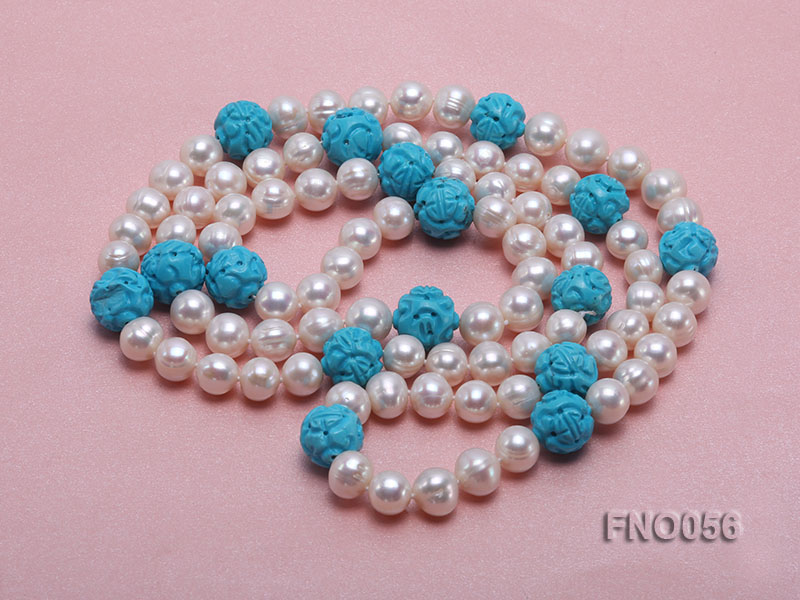 9-10mm natural white round freshwater pearl with carved blue turquoise necklace big Image 3