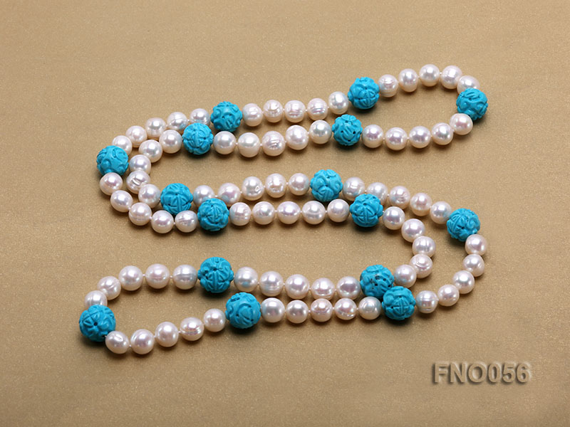 9-10mm natural white round freshwater pearl with carved blue turquoise necklace big Image 4