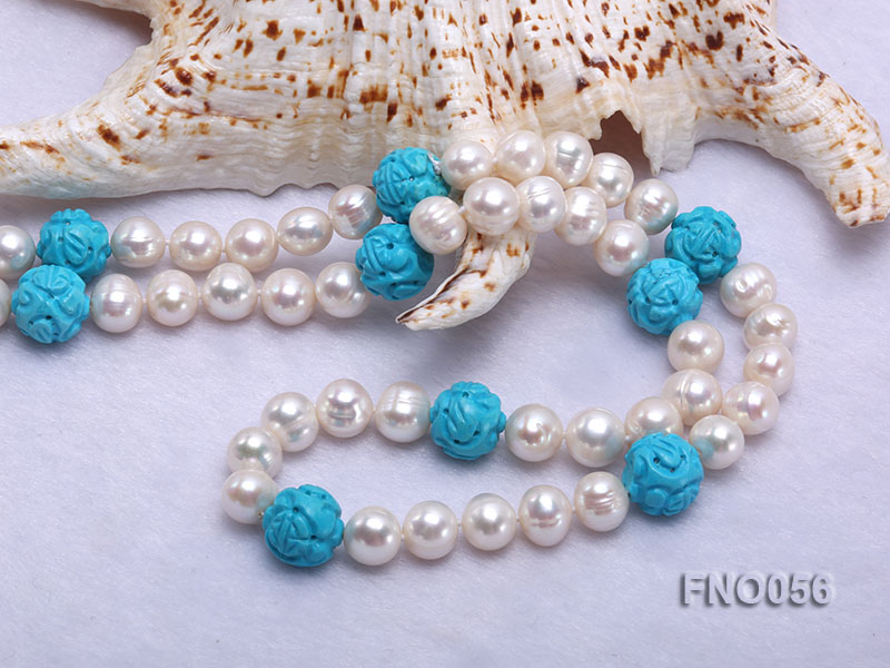 9-10mm natural white round freshwater pearl with carved blue turquoise necklace big Image 5
