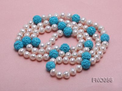 9-10mm natural white round freshwater pearl with carved blue turquoise necklace FNO056 Image 3