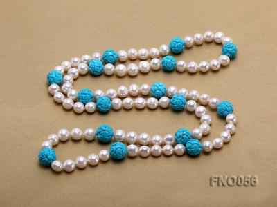 9-10mm natural white round freshwater pearl with carved blue turquoise necklace FNO056 Image 4