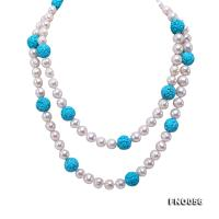 9-10mm natural white round freshwater pearl with carved blue turquoise necklace FNO056