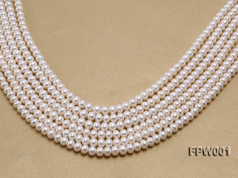 Wholesale 6.5x8.5mm Classic White Flat Freshwater Pearl String big Image 1