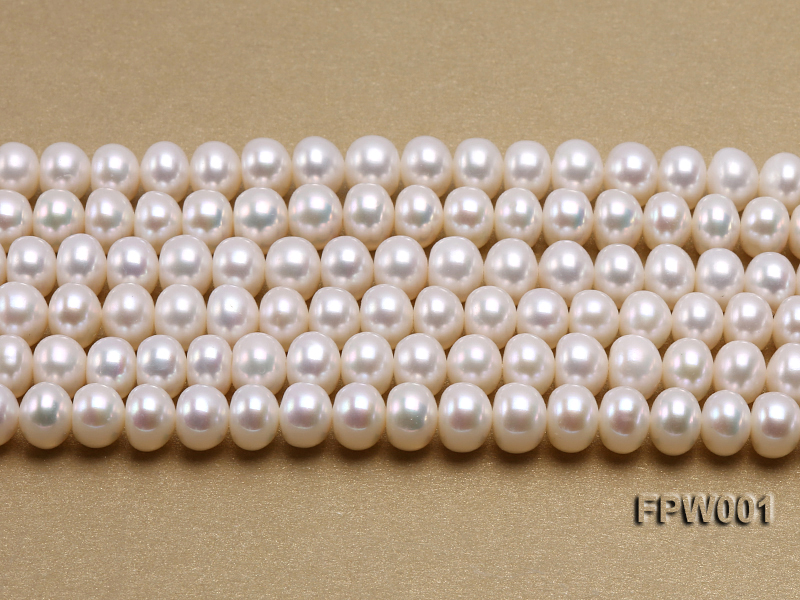 Wholesale 6.5x8.5mm Classic White Flat Freshwater Pearl String big Image 2