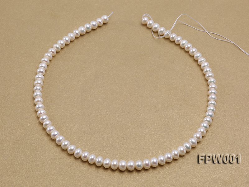 Wholesale 6.5x8.5mm Classic White Flat Freshwater Pearl String big Image 3
