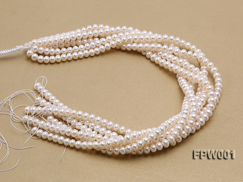 Wholesale 6.5x8.5mm Classic White Flat Freshwater Pearl String big Image 4