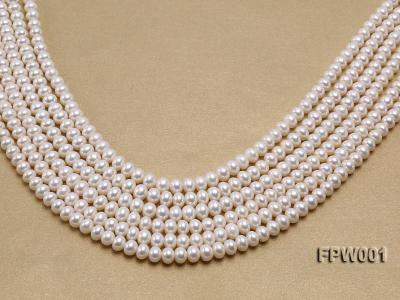 Wholesale 6.5x8.5mm Classic White Flat Freshwater Pearl String FPW001 Image 1
