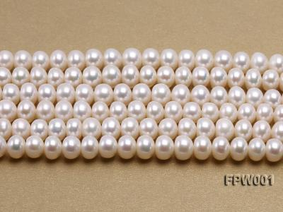 Wholesale 6.5x8.5mm Classic White Flat Freshwater Pearl String FPW001 Image 2
