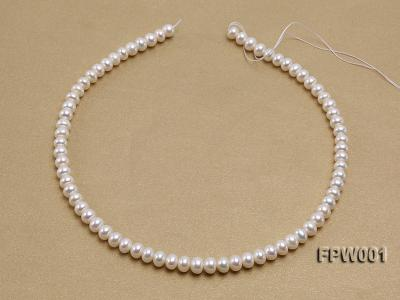 Wholesale 6.5x8.5mm Classic White Flat Freshwater Pearl String FPW001 Image 3