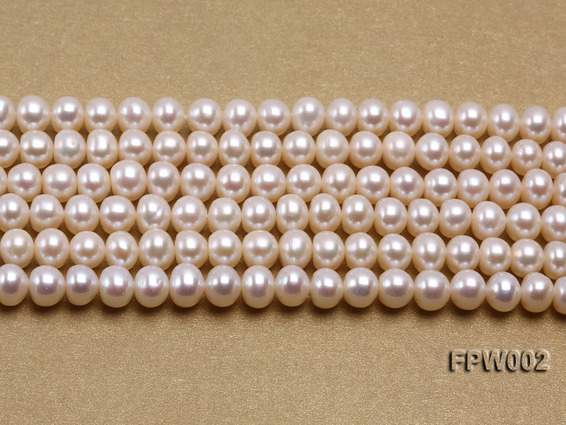 Wholesale 6.5x7mm White Flat Cultured Freshwater Pearl String big Image 2