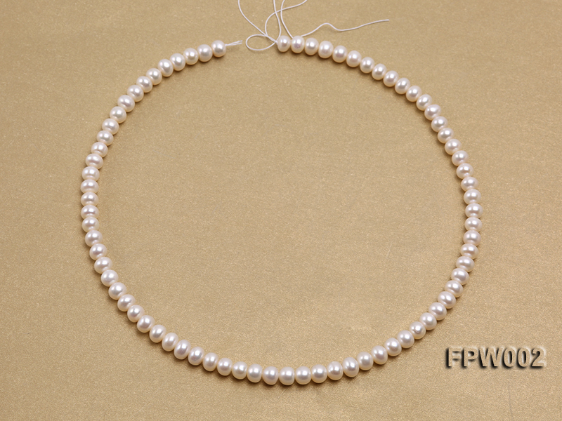 Wholesale 6.5x7mm White Flat Cultured Freshwater Pearl String big Image 3