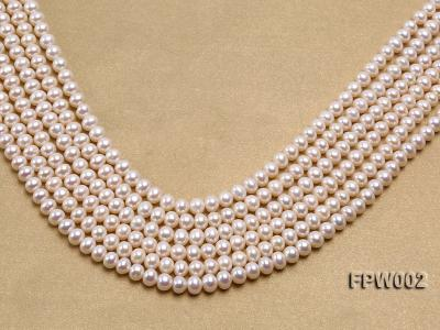 Wholesale 6.5x7mm White Flat Cultured Freshwater Pearl String FPW002 Image 1