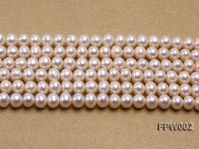 Wholesale 6.5x7mm White Flat Cultured Freshwater Pearl String FPW002 Image 2