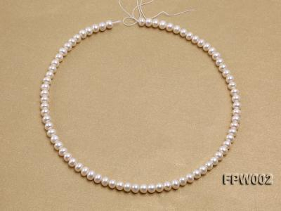 Wholesale 6.5x7mm White Flat Cultured Freshwater Pearl String FPW002 Image 3