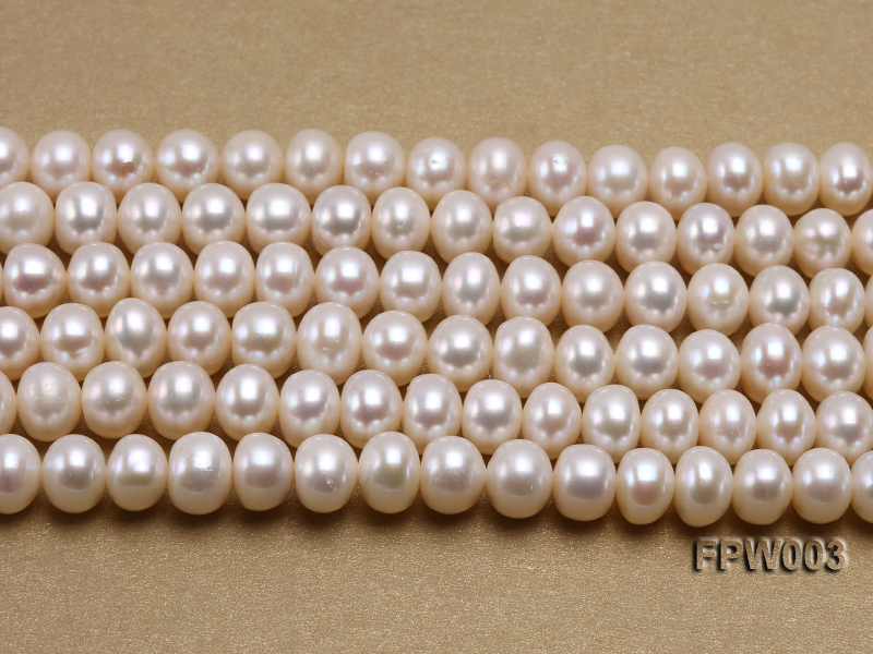 Wholesale 7x8.5mm Classic White Flat Cultured Freshwater Pearl String big Image 2